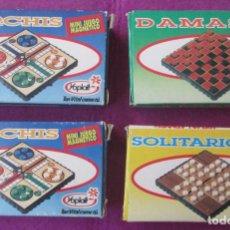 Juegos de mesa: JUEGO DE MESA LOTE 4 MINI JUEGOS MAGNETICOS PARCHIS DAMAS SOLITARIO YOPLAIT VER FOTOS. Lote 288630583