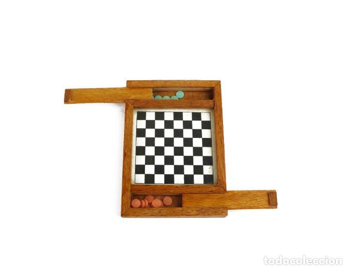 MINIATURA - JUEGO DE DAMAS - EN ESTUCHE - MADERA - PRIMERA MITAD SIGLO 20 (Juguetes - Juegos - Juegos de Mesa)