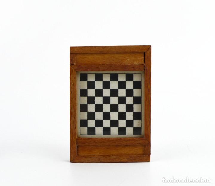 Juegos de mesa: Miniatura - juego de damas - en estuche - madera - Primera mitad Siglo 20 - Foto 3 - 288891018