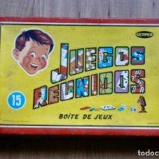 Juegos de mesa: JUEGOS REUNIDOS GEYPER CAJA DE CARTÓN 15 JUEGOS.. Lote 295809713