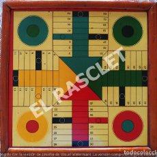 Juegos de mesa: ANTIGÜO TABLERO PARCHIS DE MADERA Y EL JUEGO PINTADO SOBRE METAL AÑOS 50 DEL SIGLO XX. Lote 296867738
