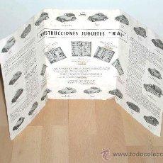 Juguetes antiguos: CATÁLOGO CONSTRUCCIONES AUTOMÓVILES PAYA RAI FABRICADOS EN CHAPA, ORIGINAL AÑOS 40.. Lote 26976926