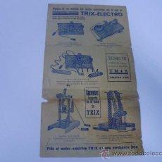 Juguetes antiguos: HOJA CATALOGO PUBLICITARO DE LOS MODELOS DE MONTAJE TRIX - MODELOS ELECTRICOS. Lote 24333915