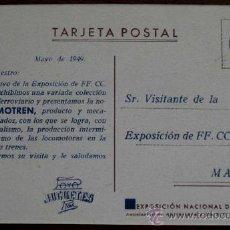 Juguetes antiguos: ANTIGUA POSTAL CON PUBLICIDAD DE JUGUETES PAYA RAI (IBI) ALICANTE 1949 - TREN PAYA LOCOMOTORA - CON. Lote 179121938