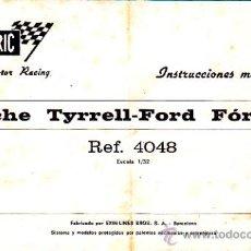 Juguetes antiguos: MANUAL INSTRUCCIONES MANTENIMIENTO COCHE SCALEXTRIC TYRELL-FORD FORMULA-1 REF.4048. Lote 24571870