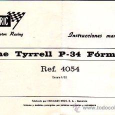 Juguetes antiguos: MANUAL INSTRUCCIONES MANTENIMIENTO COCHE SCALEXTRIC TYRRELL P-34 FORMULA 1 REF.4054. Lote 24571920