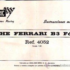 Juguetes antiguos: MANUAL INSTRUCCIONES MANTENIMIENTO COCHE SCALEXTRIC FERRARI B3 FORMULA 1 REF.4052. Lote 24571971