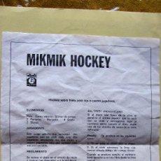 Juguetes antiguos: MIKMIK HOCKEY: INSTRUCCIONES DE JUEGO (TAMAÑO FOLIO). Lote 28488512