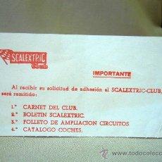 Juguetes antiguos: TARJETA PUBLICITARIA, SCALEXTRIC, SCALEXTRIC CLUB. Lote 30906186