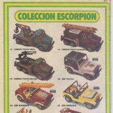Juguetes antiguos: ANUNCIO *COCHES GUISVAL* - COLECCION ESCORPION. Lote 34251331