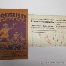 Juguetes antiguos: LISTA DE PRECIOS SOBRE LOS JUGUETES DE ALUMINIO 1927 HESMER & MOLLHOFF ALUMINIUM SPIELWAREN RARO . Lote 35794144