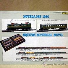 Juguetes antiguos: FOLLETO CATALOGO. NOVEDADES 1980. MAQUETA. MATERIAL MÓVIL. IBERTREN. ESCALA 3N. Lote 37366924