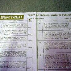 Juguetes antiguos: TARIFA DE PRECIOS. VENTA AL PUBLICO, TRENES IBERTREN. ENERO 1980. Lote 37366984