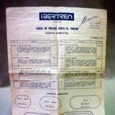 Juguetes antiguos: TARIFA DE PRECIOS. VENTA AL PUBLICO, TRENES IBERTREN. FEBRERO 1973. Lote 37367042