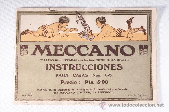 CATALOGO DE INSTRUCCIONES DE MECCANO, PARA CAJAS Nº 0-3, MECCANO DE LIVERPOOL EDICION ESPAÑOLA (Juguetes - Catálogos y Revistas de Juguetes)