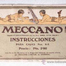 Juguetes antiguos: CATALOGO DE INSTRUCCIONES DE MECCANO, PARA CAJAS Nº 0-3, MECCANO DE LIVERPOOL EDICION ESPAÑOLA. Lote 38365167