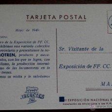 Juguetes antiguos: ANTIGUA POSTAL CON PUBLICIDAD DE JUGUETES PAYA RAI (IBI) ALICANTE 1949 - TREN PAYA LOCOMOTORA - CON . Lote 38261997