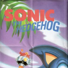 Juguetes antiguos: SONIC THE HEDGEHOG. SEGA.POSTER 59 X 42 CMTRS.DETRAS: SEGA MEGADRIVE THE ULTIMATE 16-BIT GAMES . Lote 40459045