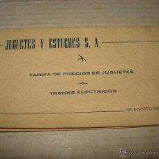 Giocattoli antichi: ANTIGUA TARIFA DE PRECIOS DE TRENES EN ESCALA *H0* DE JYE JYESA - AÑO 1960S. Lote 43409556