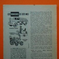 Juguetes antiguos: PUBLICIDAD REVISTA 1959 - COLECCION JUGUETES - MINI CARS DE ANGUPLAS COCHES DEL MES CAMION DAMM . Lote 45892584