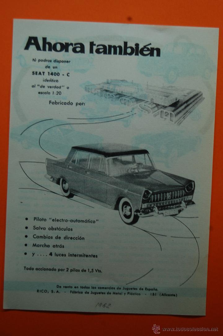 PUBLICIDAD REVISTA 1962 - COLECCION JUGUETES - SEAT 1400-C DE RICO IBI ALICANTE (Juguetes - Catálogos y Revistas de Juguetes)
