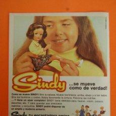 Juguetes antiguos: PUBLICIDAD 1975 - COLECCION JUGUETES - MUÑECA SINDY - TRASERA TENTE DE EXIN. Lote 47270783