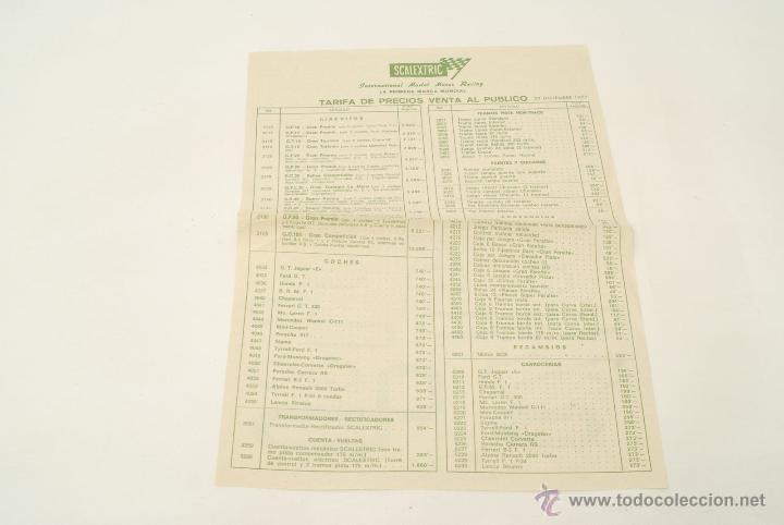 TARIFA DE PRECIOS VENTA AL PÚBLICO. SCALEXTRIC. DICIEMBRE 1977. (Juguetes - Catálogos y Revistas de Juguetes)