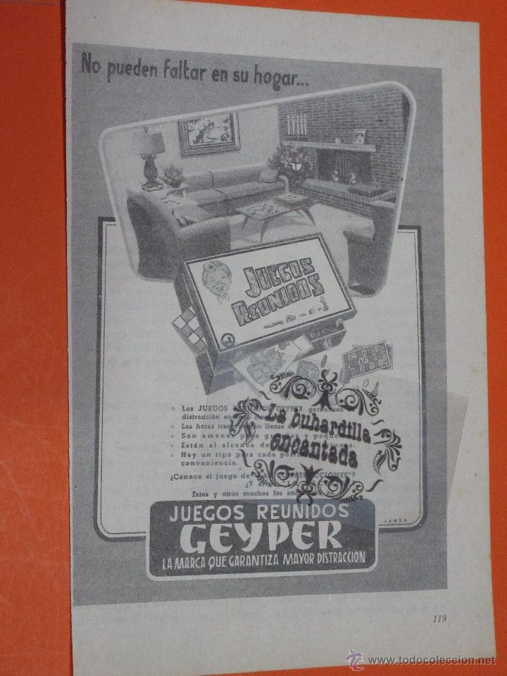 PUBLICIDAD 1955 - COLECCION JUGUETES - GEYPER JUEGOS REUNIDOS (Juguetes - Catálogos y Revistas de Juguetes)