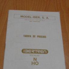 Juguetes antiguos: TARIFA DE PRECIOS MODEL IBER FEBRERO 1987 IBERTREN ESCALA N Y HO. Lote 48913172