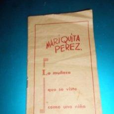 Juguetes antiguos: INTERESANTE Y RARO CATÁLOGO DE LA MUÑECA MARIQUITA PÉREZ Y JUANÍN ACCESORIOS Y PRECIOS AÑOS 50. Lote 54555587