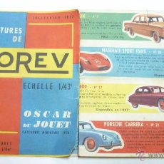 Juguetes antiguos: NOREV. CATÁLOGO DESPLEGABLE. MINIATURAS 1/43. COLECCIÓN 1957. IDIOMA FRANCÉS. Lote 54739907
