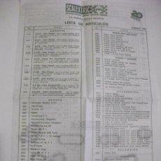 Juguetes antiguos: RARO Y DIFICIL - SCALEXTRIC - LISTA DE ARTICULOS 1982 - CIRCUITOS COCHES RECAMBIOS TRAMOS PUENTES.... Lote 70228093