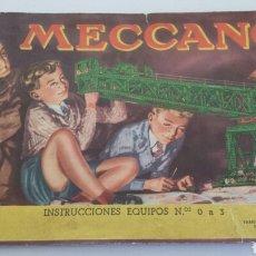 Juguetes antiguos: CATALOGO MECCANO 0 A 3 EN ESPAÑOL. Lote 72217443