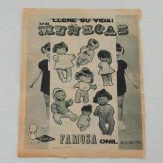 Juguetes antiguos: HOJA REVISTA PUBLICIDAD MUÑECAS FAMOSA - LLENE SU VIDA DE MUÑECAS - AÑOS 60.. Lote 86676504