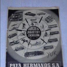 Juguetes antiguos: HOJA DE PUBLICIDAD AÑO 1955 ~ JUGUETES PAYA . Lote 94341430