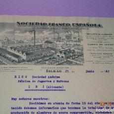 Juguetes antiguos: CARTA DE SOCIEDAD FRANCO ESPAÑOLA DE ALAMBRES Y TRANSPORTES AEREOS A JUGUETES RICO DE IBI AÑO 1942. Lote 101332663