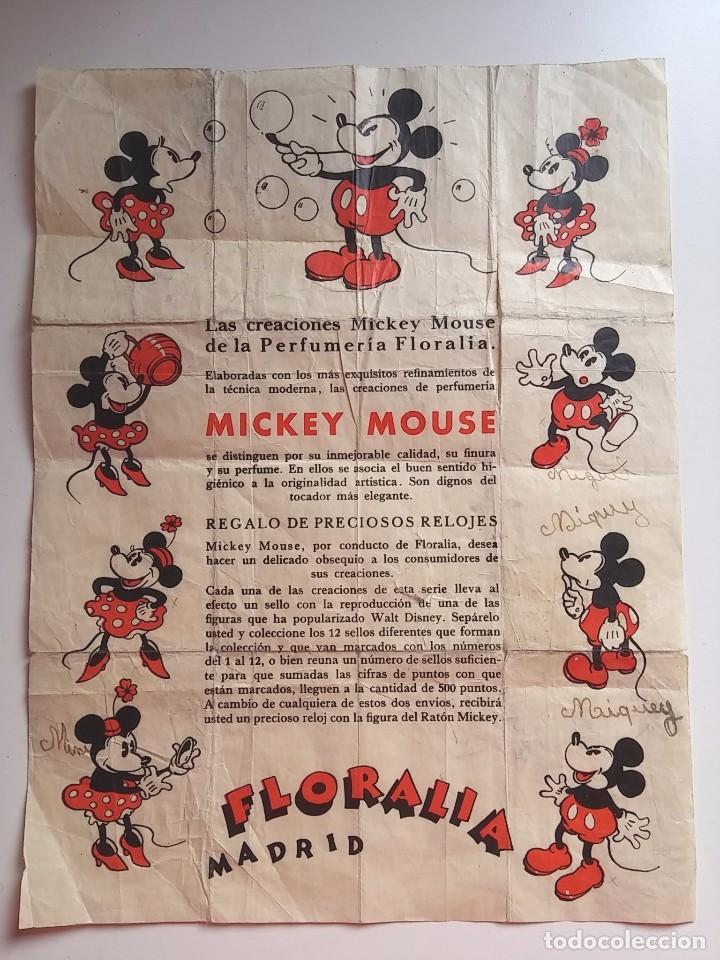 CARTEL DE PUBLICIDAD DE LAS CREACIONES MICKEY MOUSE, PERFUMERIA FLORALIA, MADRID, AÑOS 30, MIDE 27,5 (Juguetes - Catálogos y Revistas de Juguetes)