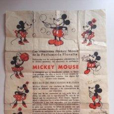 Juguetes antiguos: CARTEL DE PUBLICIDAD DE LAS CREACIONES MICKEY MOUSE, PERFUMERIA FLORALIA, MADRID, AÑOS 30, MIDE 27,5. Lote 102164151