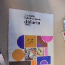 Juguetes antiguos: CATALOGO JUEGOS EDUCATIVOS DIDACTA 1968 - LOTOS - ENVIO GRATIS . Lote 102558203