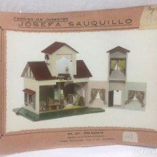 Juguetes antiguos: SAUQUILLO FICHA CATALOGO JUGUETE DE MADERA DENIA AÑOS 40-50 VILLA SEÑORIAL. Lote 104253523