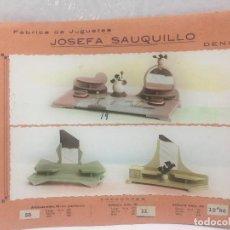 Juguetes antiguos: SAUQUILLO FICHA CATALOGO JUGUETE DE MADERA DENIA AÑOS 40-50 CAMA CAMPO. Lote 104253839