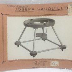 Juguetes antiguos: SAUQUILLO FICHA CATALOGO JUGUETE DE MADERA DENIA AÑOS 40-50 ANDADOR BEBE. Lote 104253947