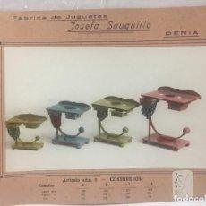 Juguetes antiguos: SAUQUILLO FICHA CATALOGO JUGUETE DE MADERA DENIA AÑOS 40-50 COSTUREROS. Lote 104254443