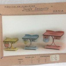 Juguetes antiguos: SAUQUILLO FICHA CATALOGO JUGUETE DE MADERA DENIA AÑOS 40-50 COSTUREROS. Lote 104254487