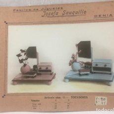 Juguetes antiguos: SAUQUILLO FICHA CATALOGO JUGUETE DE MADERA DENIA AÑOS 40-50 TOCADORES. Lote 104254543