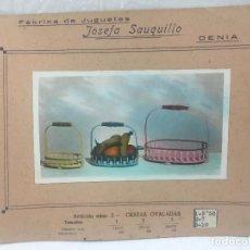 Juguetes antiguos: SAUQUILLO FICHA CATALOGO JUGUETE DE MADERA DENIA AÑOS 40-50 CESTAS OVALADAS. Lote 104254651