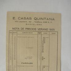 Juguetes antiguos: CATÁLOGO PRECIOS MEDIDAS Y REFERENCIAS JUGUETES( 10 PAGS ) CASAS QUINTANA BARCELONA 1925. Lote 99358355