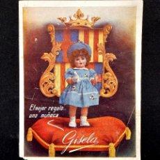 Juguetes antiguos: CATÁLOGO ORIGINAL DIPTICO PUBLICIDAD DE MUÑECAS GISELA AÑOS 50. Lote 114128043