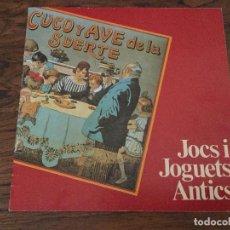 Juguetes antiguos: JOCS I JOGUETS JUEGOS Y JUGUETES MUSEU DE JOGUETS DE FIGUERES. CATÁLOGO 1987.PAYA, RICO,SEIX BARRAL. Lote 115063371