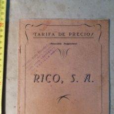 Juguetes antiguos: RICO IBI ALICANTE 1948 TARIFA DE PRECIOS.. Lote 116189960